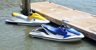 Jet Skis Tied to Dock